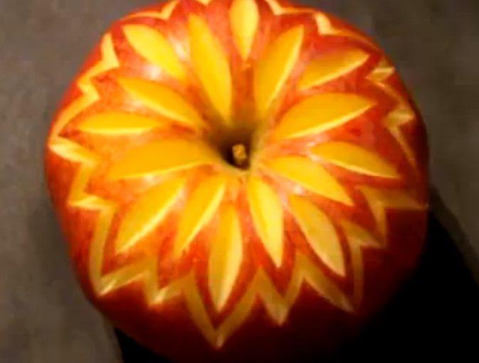 Фруктові прикраси для страви, торта, столу або карвінг з яблук з фото, відео