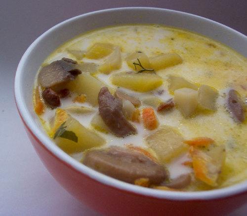 Грибний суп з печерицями та картоплею – смачний, швидкий і ситний. Рецепт з фото.