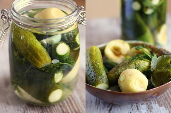 Малосольні огірки без оцту, але з яблуками – незвичайний рецепт малосольних огірків.