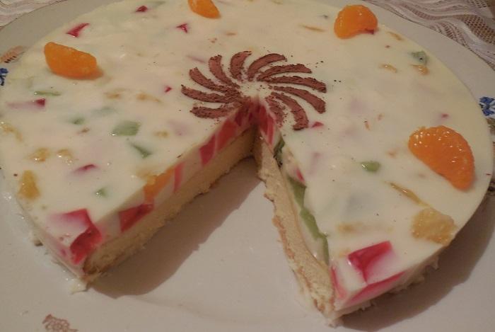 Бісквітний желейний торт з сметаною і фруктами – домашній тортМалахітова шкатулка з желатином