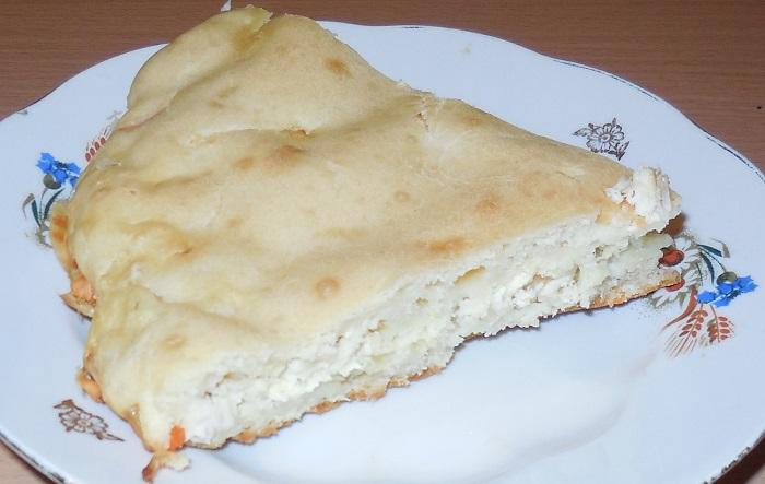 Заливний пиріг на кефірі з м'ясом і овочами