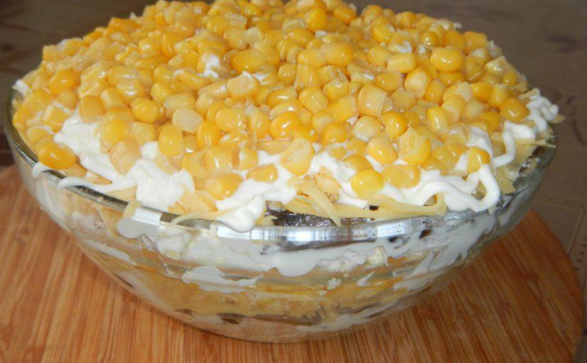 Простий салат шарами з курячим філе, грибами, сиром і яйцями
