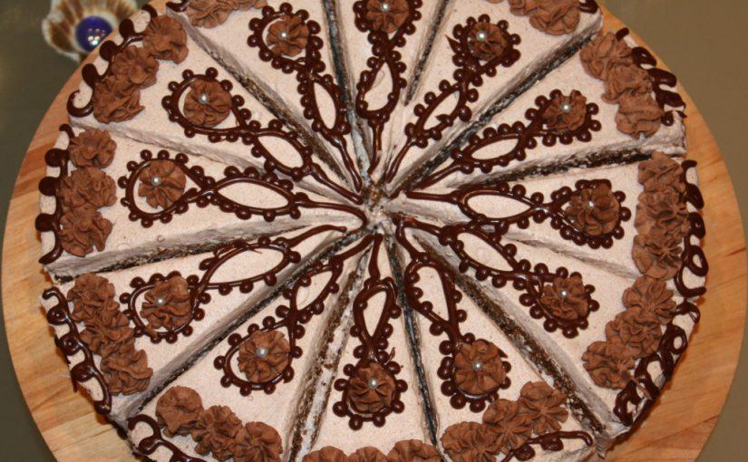 Шоколадно-кавовий торт Кавова фантазія – бісквітний торт з вершковим кремом з маскарпоне
