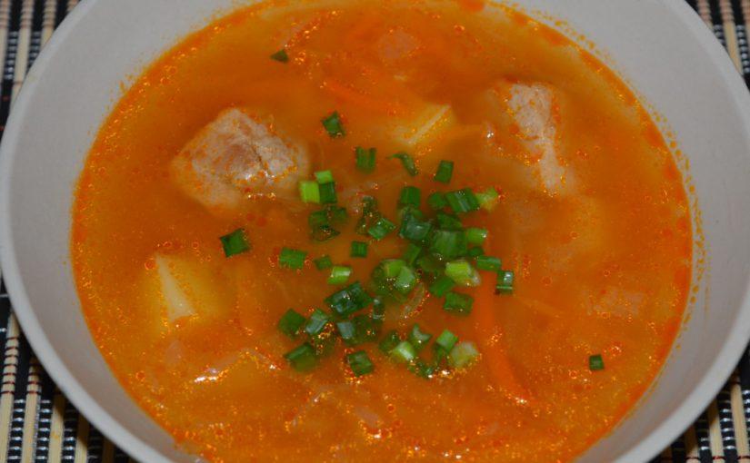 Кислий суп-капусняк з квашеної капусти з м'ясом в мультиварці