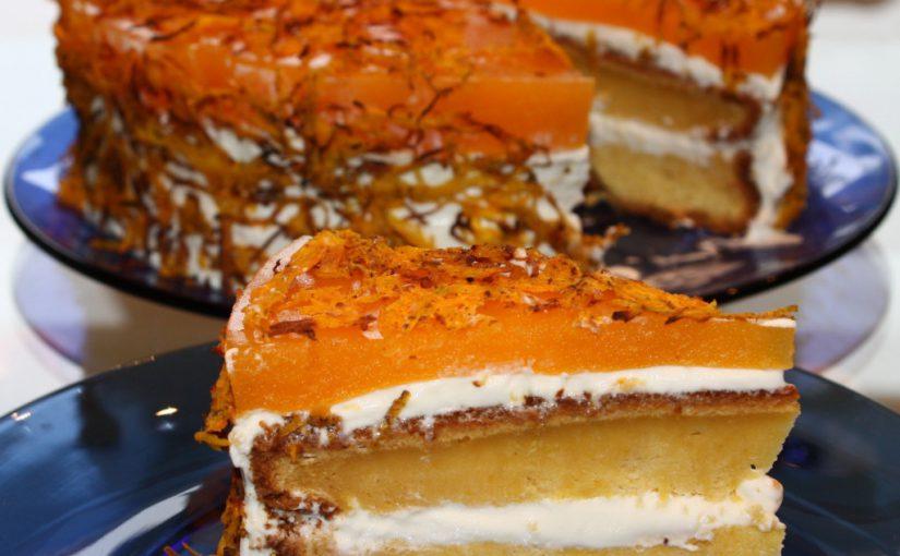 Гарбузовий торт із сметанним кремом – смачний бісквітно-мусовий десерт з гарбуза