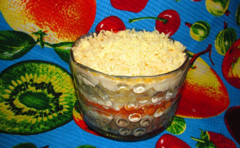 Салат Мімоза з консервою та плавленим сиром
