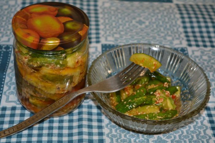 Огірки по-корейськи на зиму – з соєвим соусом і кунжутом