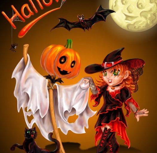 Вітальні листівки на Хелловін- страшні, прикольні та милі привітання
