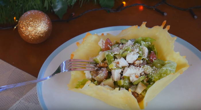 Курячий салат у сирному кошику – як оформити салат у сирних кошиках порційно та красиво