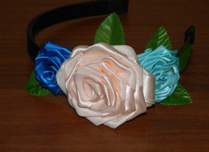 Троянди з атласних стрічок своїми руками для початківців