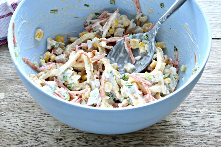 Оригинальный вкусный салатик с яичными блинчиками!