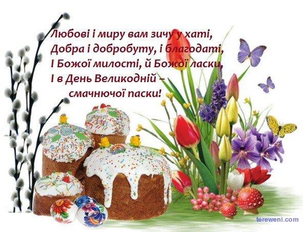Вітальні картинки з Великоднем - коротке привітання українською мовою