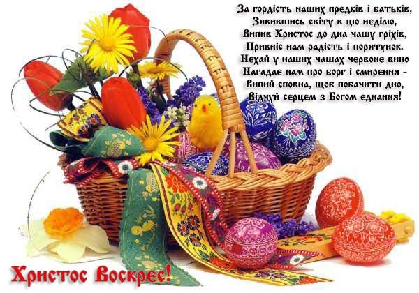Красива листівка-привітання з Великоднем на українській мові