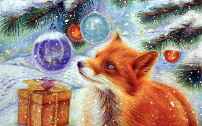 Гарний новорічний фон робочого столу - заставки Тварини