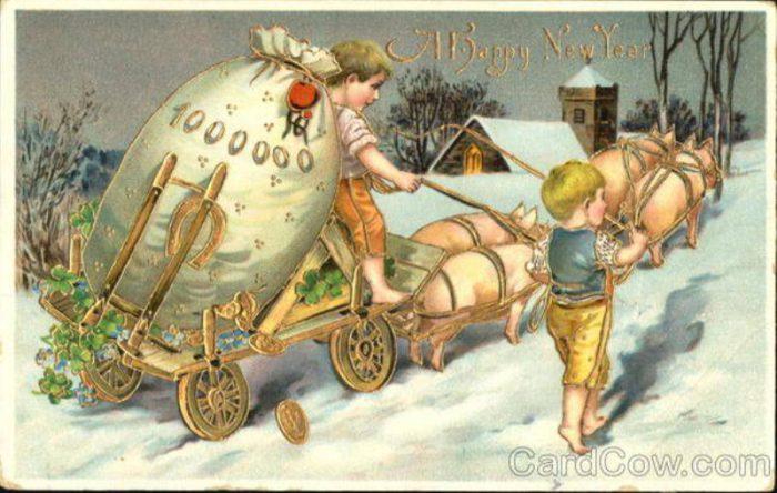 Милі старовинні новорічні листівки з роком Свині англійською