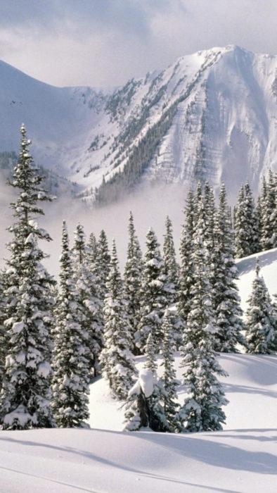 Зимова гарна картинка на смартфон - засніжені гори, ліс
