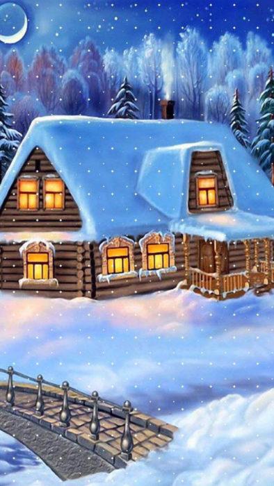 Зимова красива мальована картинка на айфон