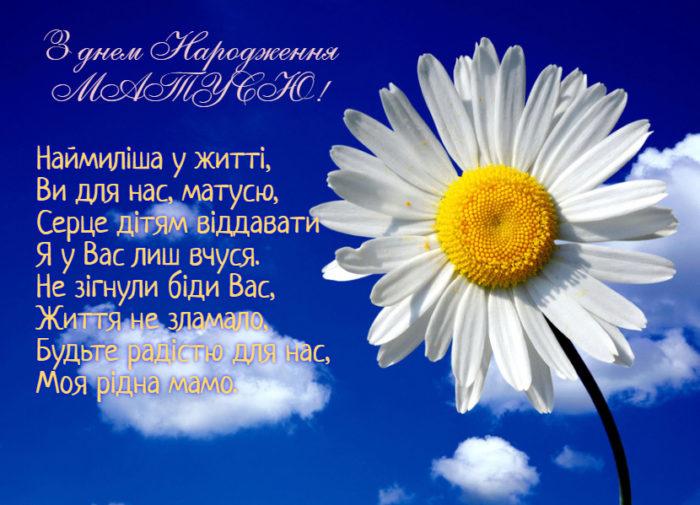 Листівкиз днем народження мамі з привітаннями на українській мові