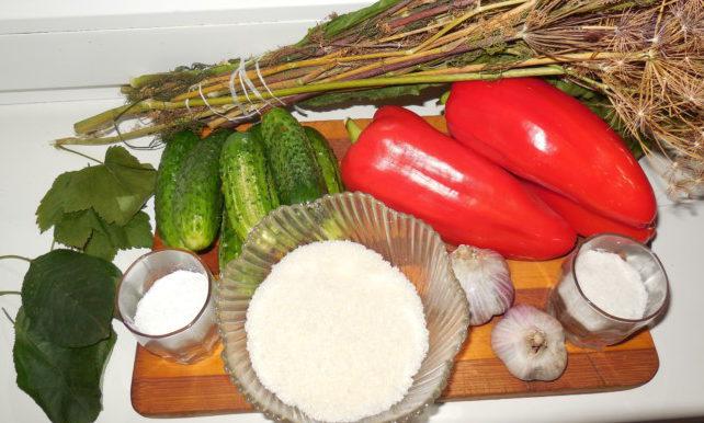 Мариновані огірки з болгарським перцем