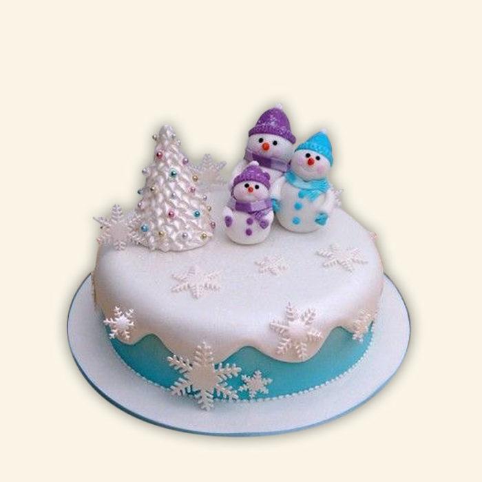 Новорічний торт зі сніговиком - смачний, простий та красивий