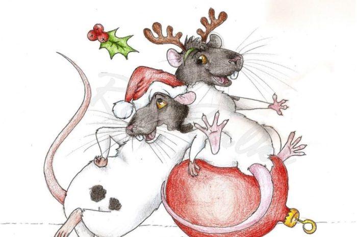 Новорічні намальовані картинки з пацюками і мишами