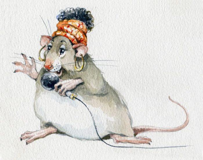 Стильні прикольні намальовані картинки з новорічними щурами, пацюками, мишами