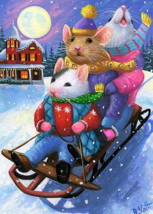 Новорічні намальовані картинки рік Щура-Пацюка