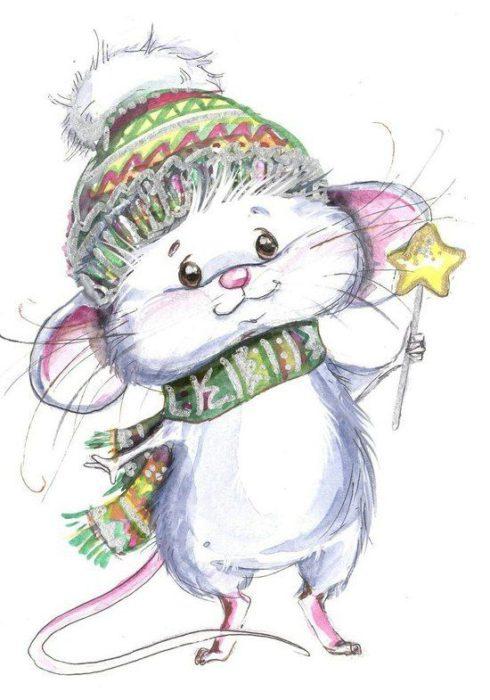 Новорічні мальовані картинки на рік Щура-Пацюка