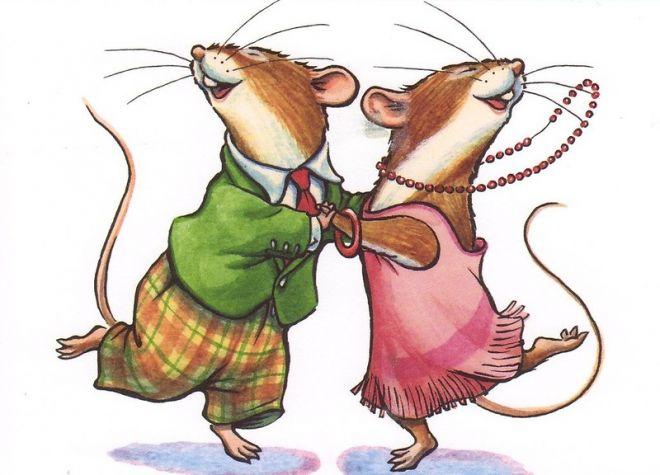 Безкоштовні мальовані картинки з мишами на Новий рік