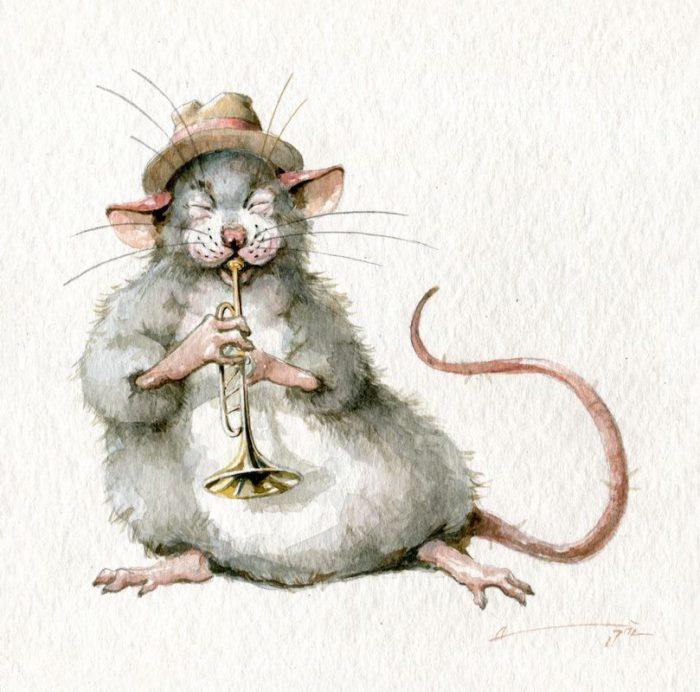 Новорічні мальовані картинки з мишками та щурами