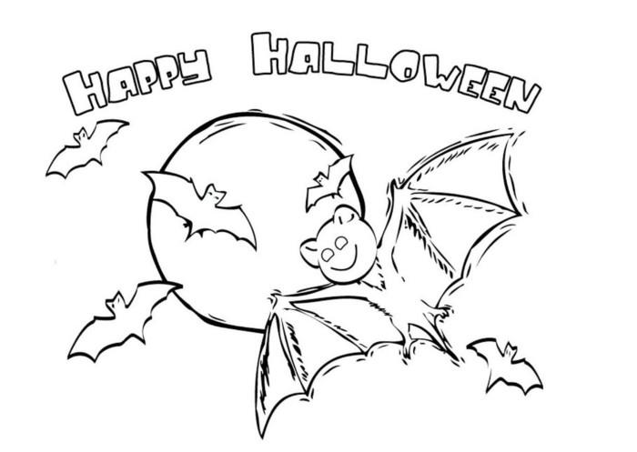 Розфарбування - кажан на Хеллоуїн