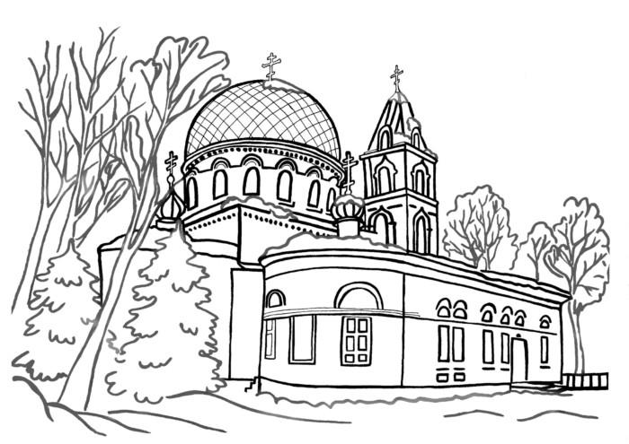 Дитячі великодні розмальовки з церквою