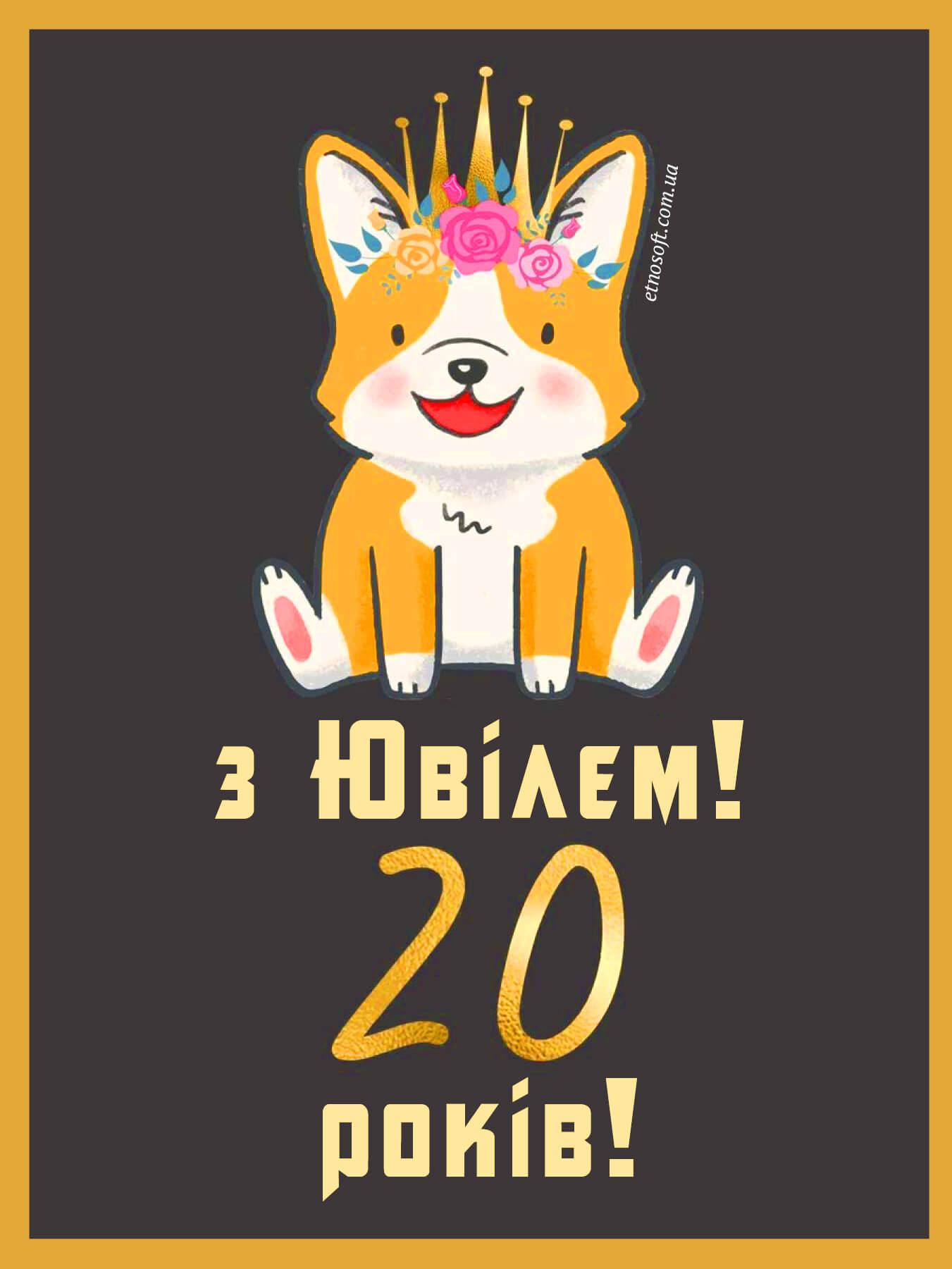 Прикольна картинка-привітання до Дня Народження на 20 років - веселе та цікаве привітання хлопцю чи дівчині з Ювілеєм на 20 річчя