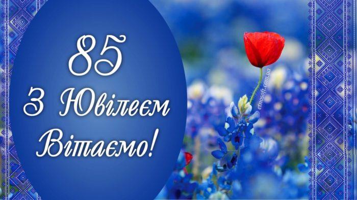 Гарна картинка-привітання до Ювілею на 85 років - оригінальне привітання з Днем народження та 85 річчям