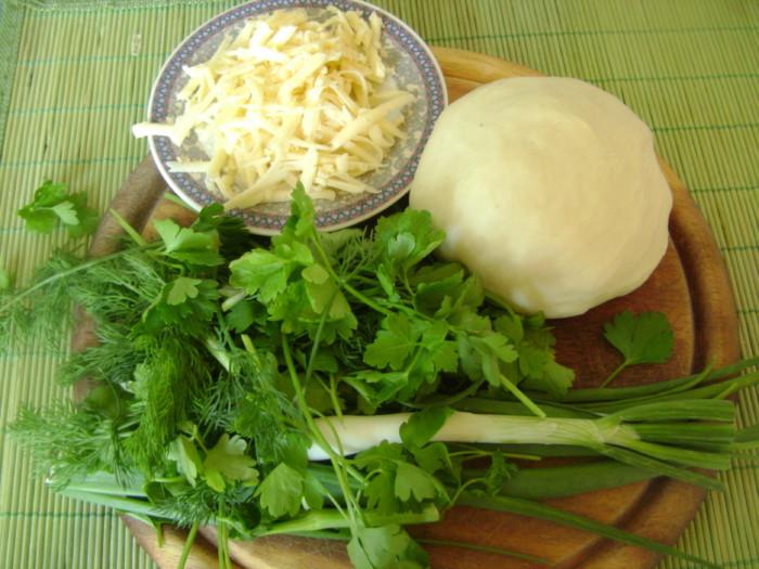 Чебуреки з сиром і зеленню