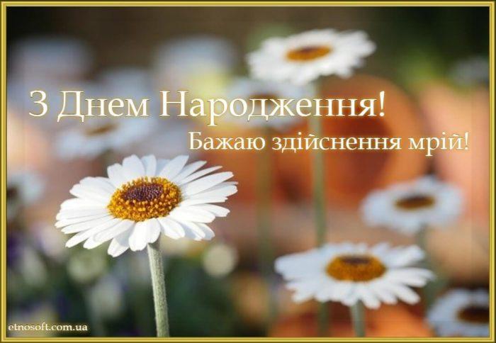 Вітальна листівка з днем народження з польовими квітами - ромашки