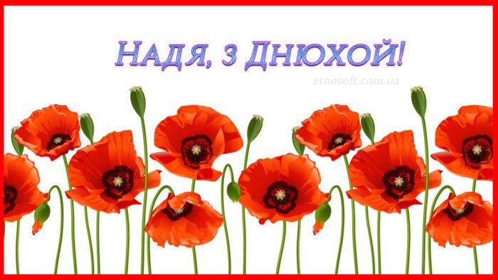 Оригінальна листівка для Надії на День Народження - сучасне привітання з Днем Народження Надя