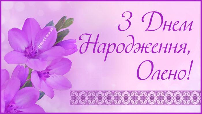 Оригінальна листівка для Олени на День Народження - сучасне привітання з Днем Народження Олена