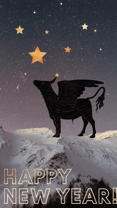 Гарна новорічна заставка на телефон на рік Бика