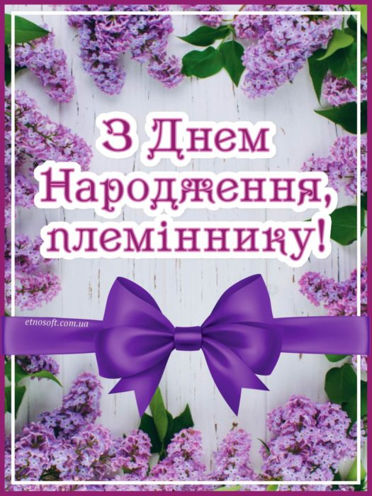 З Днем Народження племінник листівка вертикальна з квітами