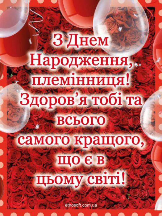 Стильна листівка з Днем Народження для племінниці - червоні троянди та текст привітання прозою