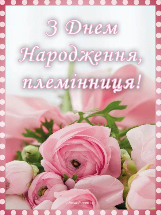 З Днем Народження племінниця листівка-привітання - ніжні рожеві троянди